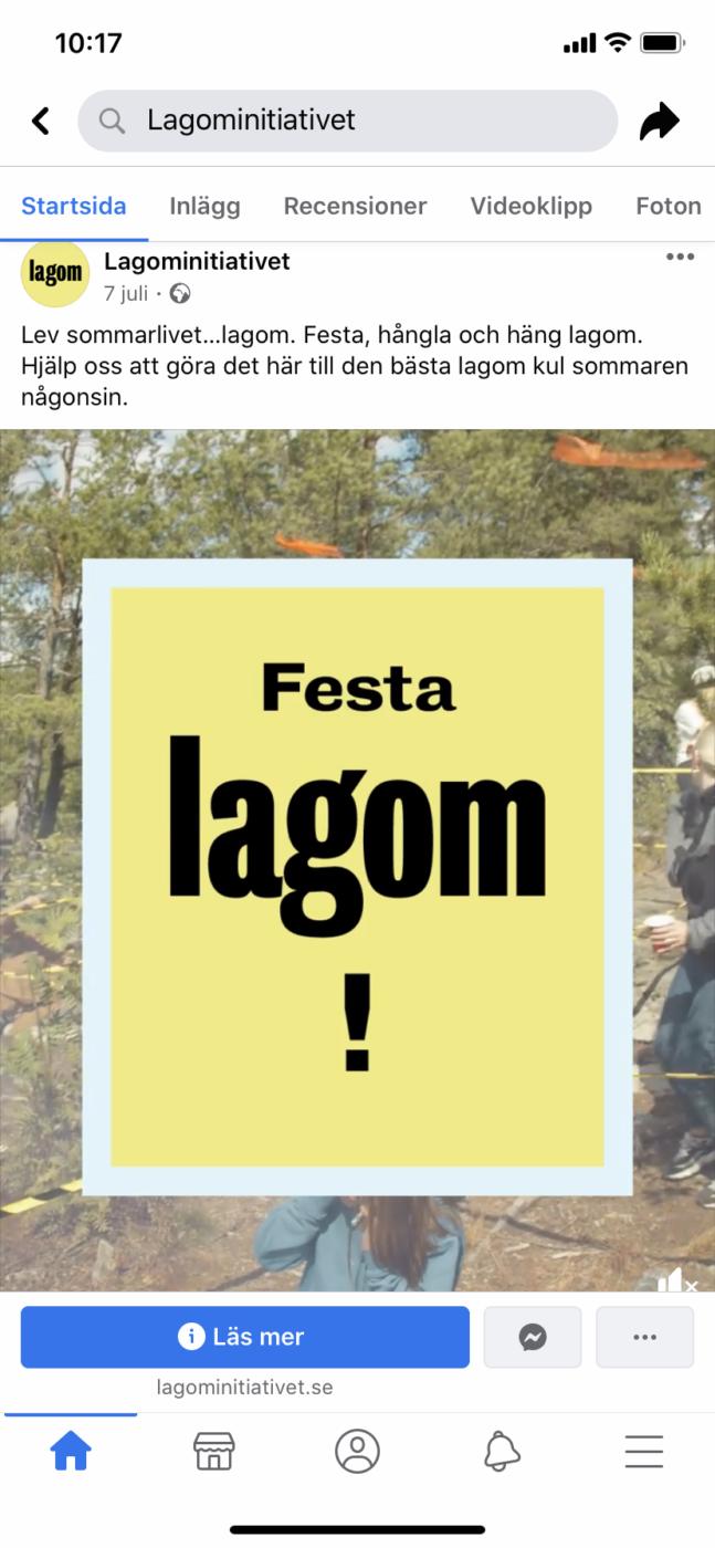 Festa Lagom - Facebook inlägg